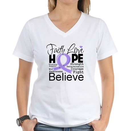 Faith Hope General Cancer Women's V-Neck T-Shirt