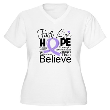 Faith Hope General Cancer Women's Plus Size V-Neck