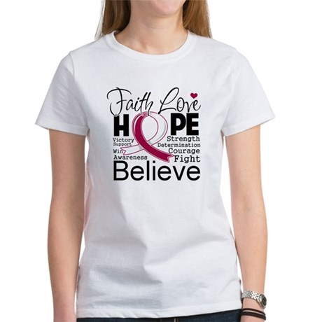Faith Hope Head Neck Cancer Women's T-Shirt