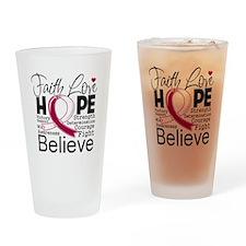 Faith Hope Head Neck Cancer Drinking Glass