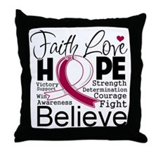 Faith Hope Head Neck Cancer Throw Pillow