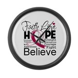 Faith Hope Head Neck Cancer Large Wall Clock