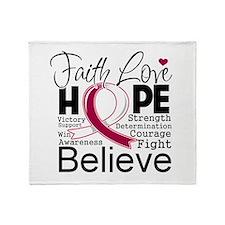 Faith Hope Head Neck Cancer Throw Blanket