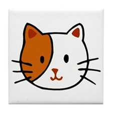 Calico Cat Cartoon Tile Coaster