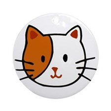 Calico Cat Cartoon Ornament (Round)