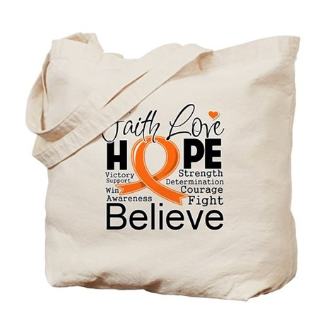 Faith Hope Kidney Cancer Tote Bag