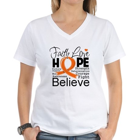 Faith Hope Kidney Cancer Women's V-Neck T-Shirt