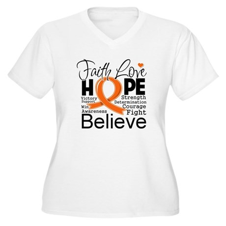 Faith Hope Kidney Cancer Women's Plus Size V-Neck