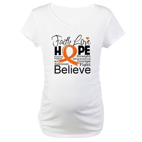 Faith Hope Kidney Cancer Maternity T-Shirt