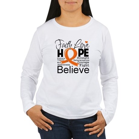 Faith Hope Kidney Cancer Women's Long Sleeve T-Shi