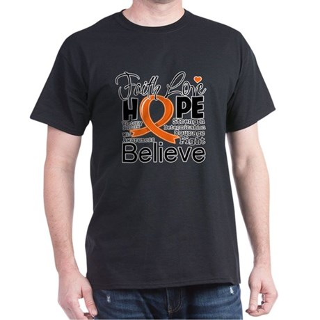 Faith Hope Kidney Cancer Dark T-Shirt