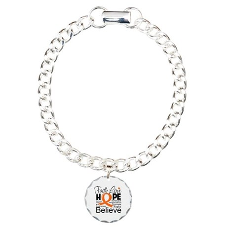 Faith Hope Kidney Cancer Charm Bracelet, One Charm