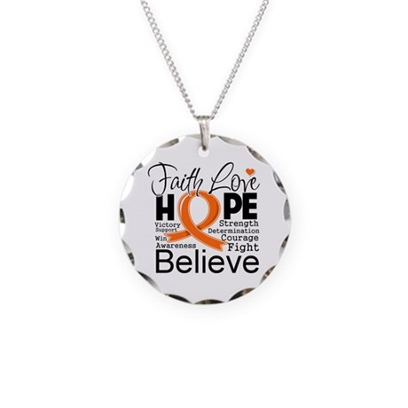 Faith Hope Kidney Cancer Necklace Circle Charm
