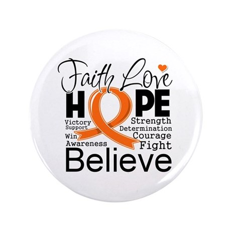 "Faith Hope Kidney Cancer 3.5"" Button (100 pack)"