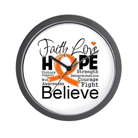 Faith Hope Kidney Cancer Wall Clock