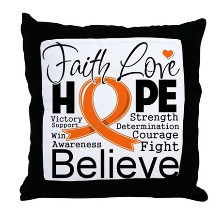 Faith Hope Kidney Cancer Throw Pillow
