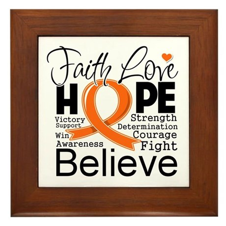 Faith Hope Kidney Cancer Framed Tile