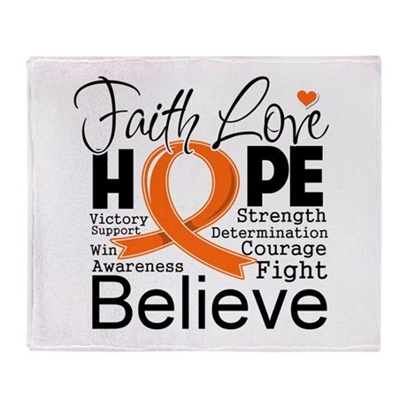 Faith Hope Kidney Cancer Throw Blanket