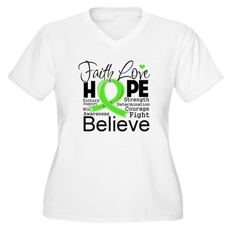 Faith Hope Lymphoma Women's Plus Size V-Neck T-Shi