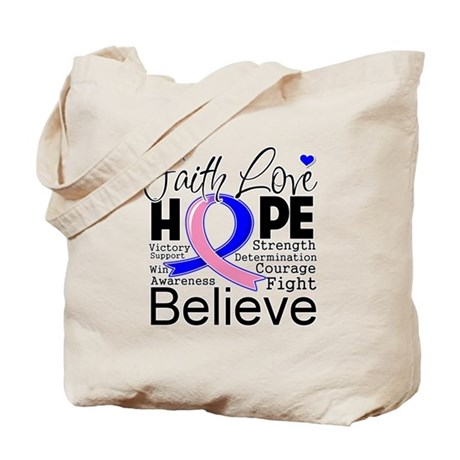 Faith Hope Male Breast Cancer Tote Bag