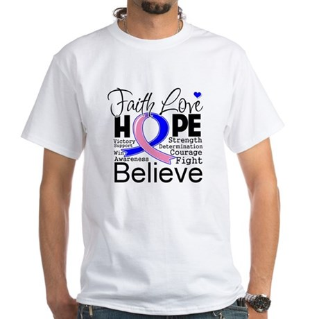 Faith Hope Male Breast Cancer White T-Shirt