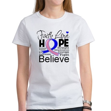 Faith Hope Male Breast Cancer Women's T-Shirt