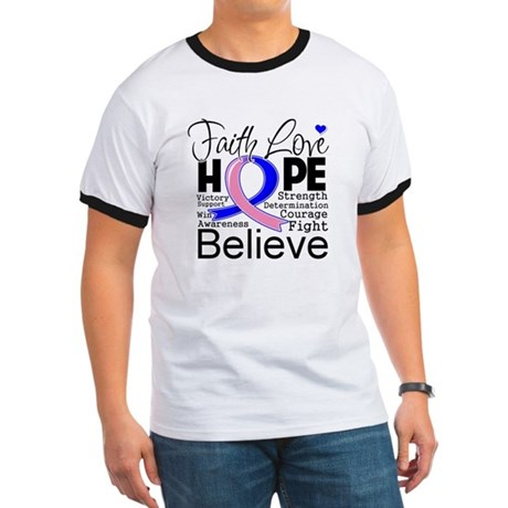 Faith Hope Male Breast Cancer Ringer T