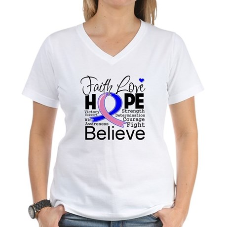Faith Hope Male Breast Cancer Women's V-Neck T-Shi