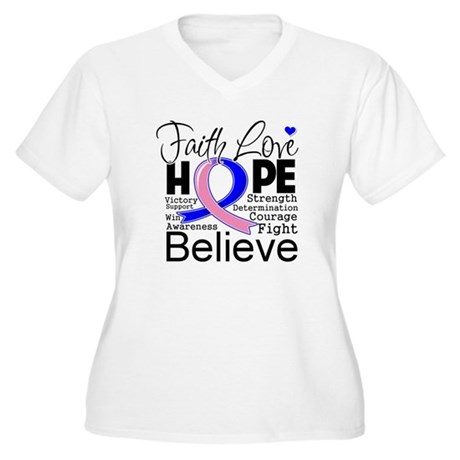Faith Hope Male Breast Cancer Women's Plus Size V-