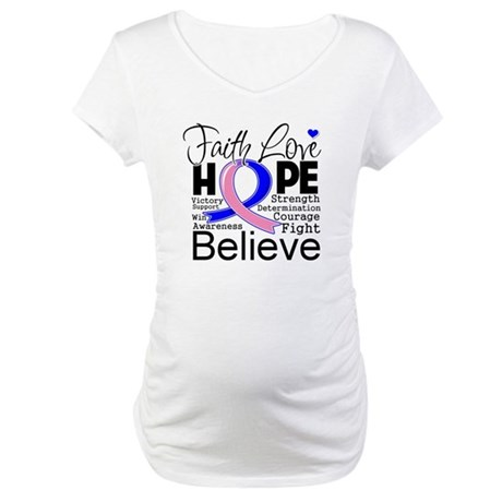 Faith Hope Male Breast Cancer Maternity T-Shirt