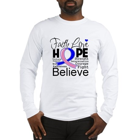 Faith Hope Male Breast Cancer Long Sleeve T-Shirt