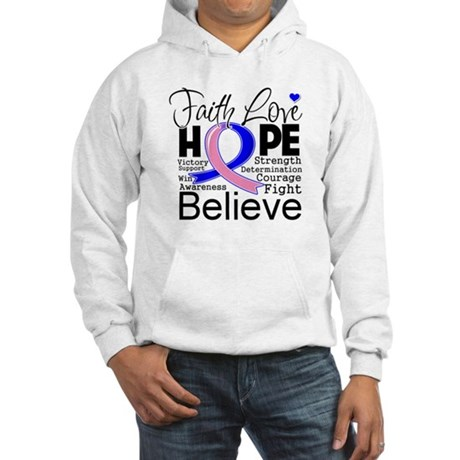 Faith Hope Male Breast Cancer Hooded Sweatshirt