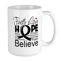 Faith Hope Melanoma Large Mug