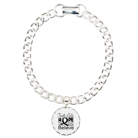Faith Hope Melanoma Charm Bracelet, One Charm