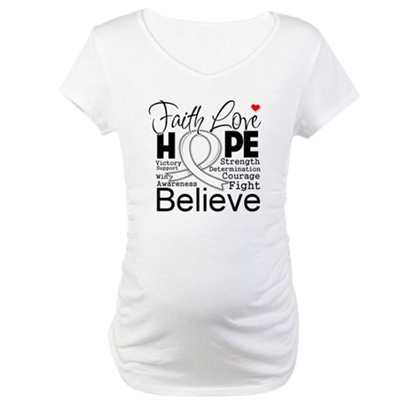 Faith Hope Mesothelioma Maternity T-Shirt