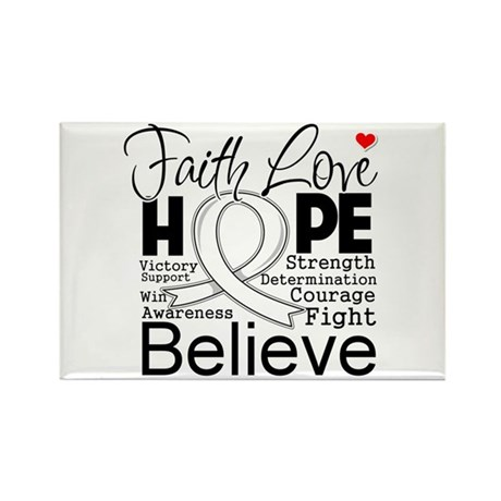 Faith Hope Mesothelioma Rectangle Magnet (10 pack)