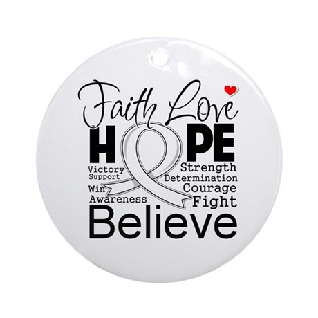 Faith Hope Mesothelioma Ornament (Round)
