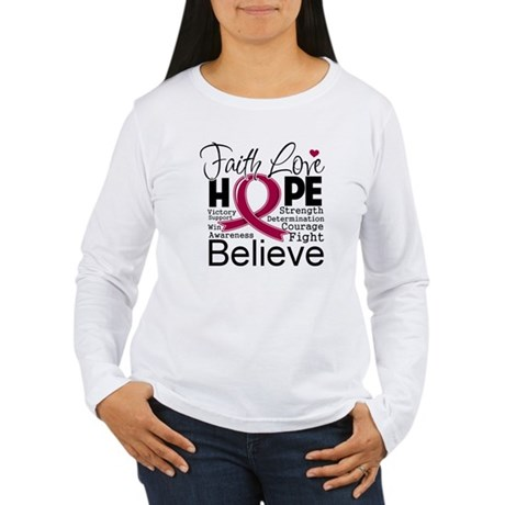 Faith Hope Multiple Myeloma Women's Long Sleeve T-