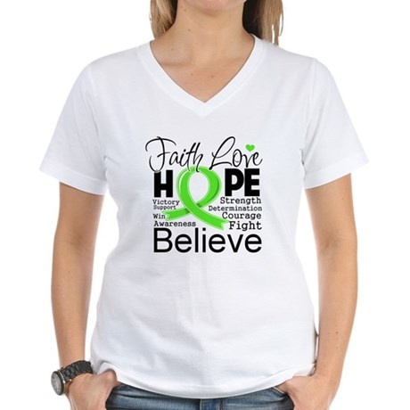 Faith Non-Hodgkins Lymphoma Women's V-Neck T-Shirt