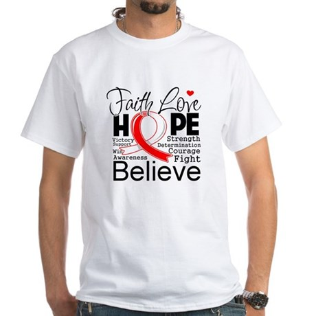 Faith Hope Oral Cancer White T-Shirt