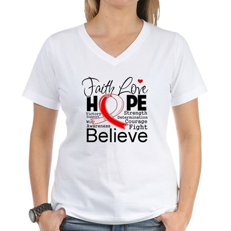 Faith Hope Oral Cancer Women's V-Neck T-Shirt