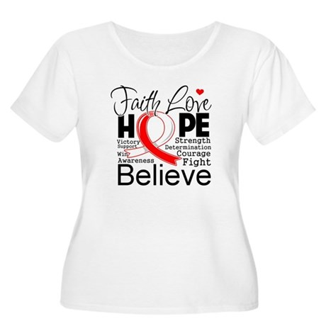 Faith Hope Oral Cancer Women's Plus Size Scoop Nec