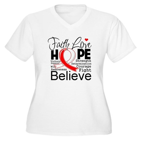 Faith Hope Oral Cancer Women's Plus Size V-Neck T-