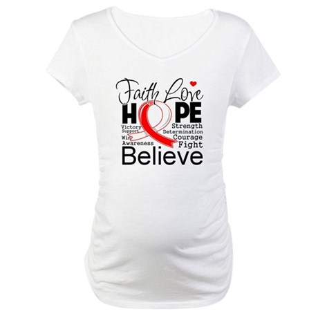 Faith Hope Oral Cancer Maternity T-Shirt