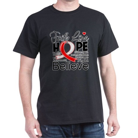 Faith Hope Oral Cancer Dark T-Shirt