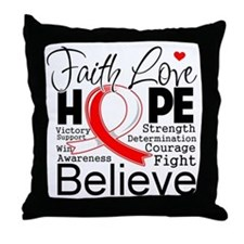 Faith Hope Oral Cancer Throw Pillow