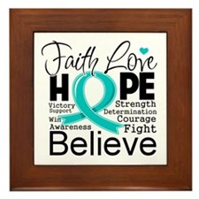 Faith Hope Ovarian Cancer Framed Tile