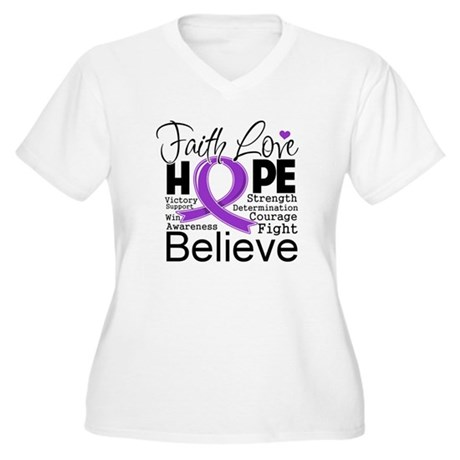 Faith Hope Pancreatic Cancer Women's Plus Size V-N