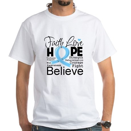 Faith Hope Prostate Cancer White T-Shirt