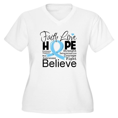 Faith Hope Prostate Cancer Women's Plus Size V-Nec
